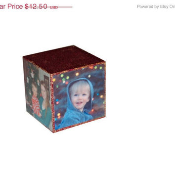 SALE Wooden Photo Block- personalized, wooden baby photo block, wood baby block, Christmas block, photo Christmas ornament