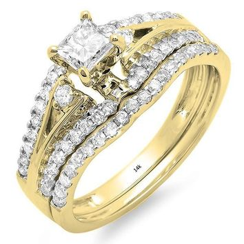 1.00 Carat (ctw) 14K Gold Princess & Round Diamond Ladies Bridal Engagement Ring Set 1 CT