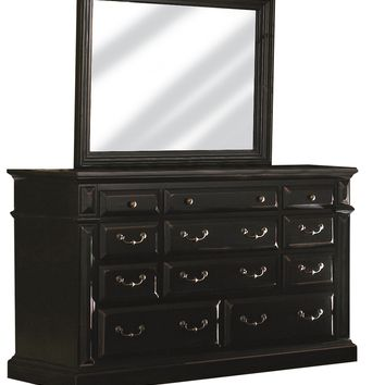 Torreon Rustic Drawer Dresser And Mirror Antique Black