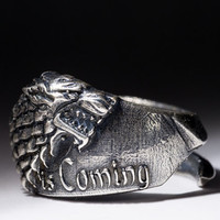 House Stark Direwolf Ring, Winter Is Coming, Game of Thrones, silver, adjustable size, handmade