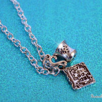 Once Upon a Time, Belle Magical Necklace Story Book and Teacup Charms, Rumplestiltskin's Love, Inspired by ABC TV Show