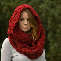 Oversized Hooded Infinity Scarf, Red Chunky Cowl