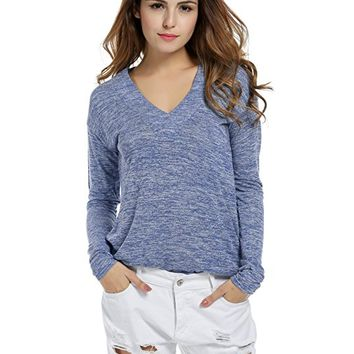 Women Casual V-Neck Long Sleeve Thin Plain Loose Fit Sweater