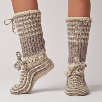 Hand Knit Wool Knee Sock - Warm, Soft, Bulgarian Slipper for Winter: Valentina