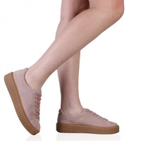 Yinka Creepers In Pink Faux Suede and Gum Sole
