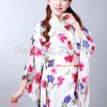 Shanghai Story hot sale Vintage Japanese Style Dress Japan Style Women's Silk Satin Kimono Yukata Evening Dress hot sale H004X