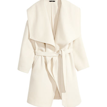 H&M - Felted Coat - Light beige - Ladies