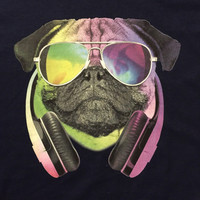 Men's Rainbow Pug Headphones Rave Concert Party Shirt Hipster Shirt Graphic Tee T Shirt