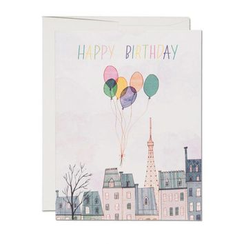 RED CAP CARDS PARIS BALLOONS CARD