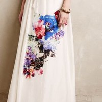 Crystal Cave Silk Maxi Skirt by Tryb White