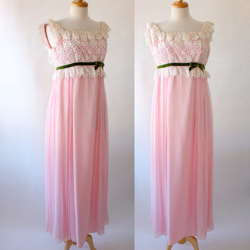 Vintage 60s Pastel Pink and White Lace Prom Bridal or Party Dress