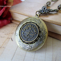 Sagittarius Locket Necklace, Antique Brass Zodiac Locket Necklace
