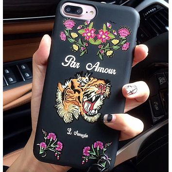 Gucci Asia style iPhone6 / 6S tiger head X 8plus silicone soft case 7p phone shell + lanyard