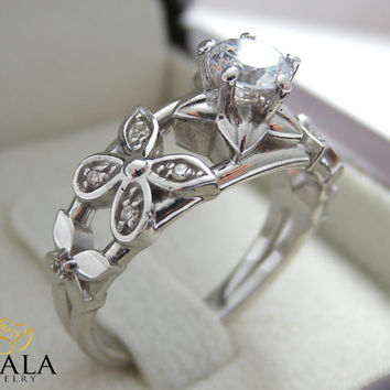 14K White Gold Flower Engagement Ring Diamond Ring Flower Ring Engagement Ring Diamond Engagement Ring