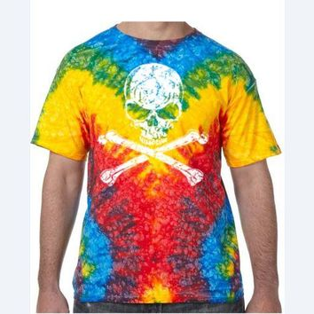 Distressed White Skull Tie Dye Tee Shirt