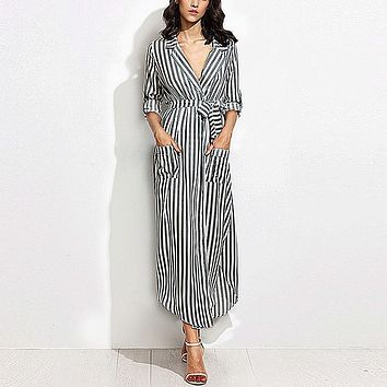 *Online Exclusive* Striped Maxi Dress with Waist Tie and Front Pockets