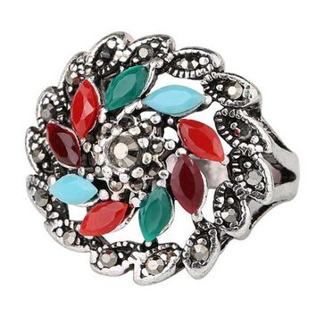 new hot women vintage retro old silver ring womens fashion casual jewelry unique best gift rings 25 2