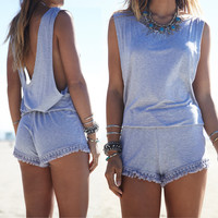 Grey V-Back Sleeveless Fringed Romper