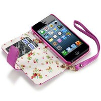 IPHONE 5 PREMIUM PU LEATHER WALLET CASE WITH FLORAL INTERIOR - HOT PINK