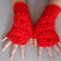 Red Knitted Gloves, Pattern, Women's Gloves, Valentine's Day, Wrist Warmers, Mittens, Gloves Handmade, Gift Ideas