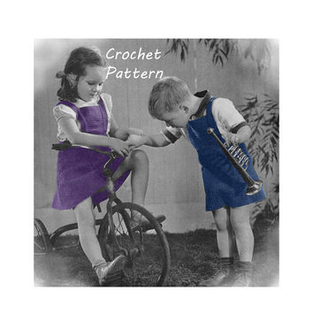 Toddler Boy's or Girl's Overalls or Jumper Crochet Pattern Size 2, 4, 6 || Vintage 1940's || Reproduction PDF Instant Download 5129A-175
