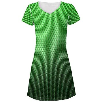 Halloween Green Earth Dragon Scales Costume All Over Juniors Beach Cover-Up Dress