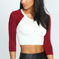 Emma Raglan Sleeve Crop Top