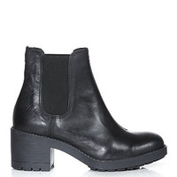 Black Chunky Heel Leather Chelsea Boots