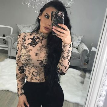 Women Fashion Dragon Pattern Print Perspective Gauze Long Sleeve Turtleneck Stretch Show Thin T-shirt Bodycon Tops
