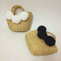 PREORDER Black and White Straw Beach bag / grass / Summer Straw Basket / Burlap bags / Jute bags / pom-pom bags grocery bags / Straw tote