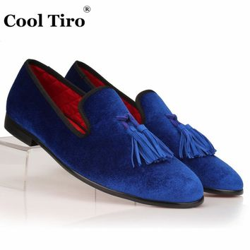 COOL TIRO Men Velvet Loafers Shoes Tassel Red Bottom Loafers Men's Flats Casual Shoes
