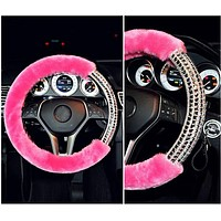 Pink Fur Bling Rhinestone steering wheel cover