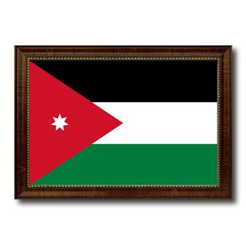 Jordan Country Flag Canvas Print with Brown Picture Frame Home Decor Gifts Wall Art De