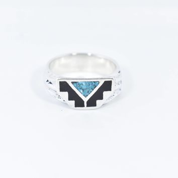 Vintage 1980's Native American Style Southwestern Real Turquoise Stone inlay Men's bear Ring