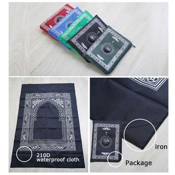 100*62cm Portable Folding Waterproof Blanket for Pocket for Compass Outdoor Hiking Islamic Mat Travel Prayer Rug