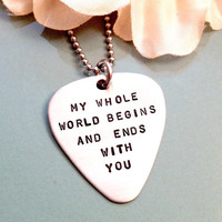 Hand Stamped Guitar Pick Necklace