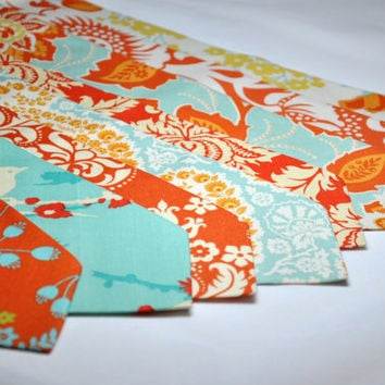 Custom Neckties  Orange and Aqua Blue  Mens Tie or by MeandMatilda