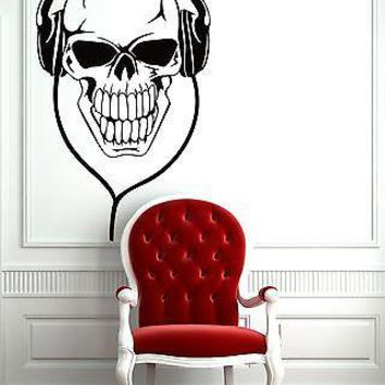 Wall Vinyl Sticker Decal Skull in Headphones Music Notes Decor Unique Gift (z1081)