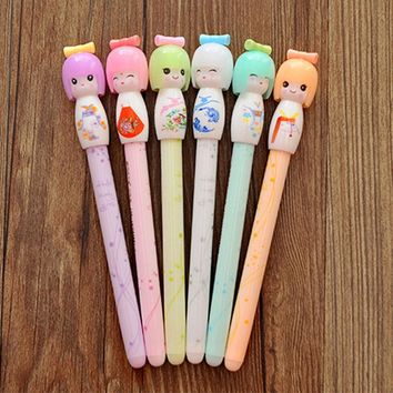 4Pcs Kawaii Kimono Japanese Girl Doll Gel Pen Writing Signing Stationery Creative Gift School Office Supply