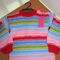 "Children, hand-knitted sweater ""Good Guys"" Kids shirt for 3-4 year old child"