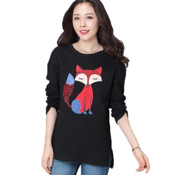 L-4XL Plus Size 2017 Autumn Women Fox Printed Long Sleeve Loose Hoodie Sweatshirt Warm Tops Blouse Shirt Lady Casual Pullovers