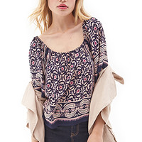 FOREVER 21 Abstract Print Peasant Top
