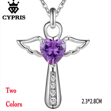 SALE Drop shipping Jesus Cross Love angel heart wing silver protective Pendant Necklace 18inch women girl lady gift 925