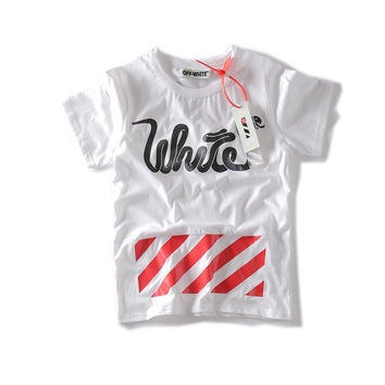 Off White T-shirts Alphabet Cotton Short Sleeve Round-neck Bottoming Shirt [10262482067]