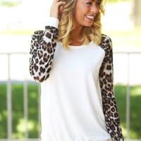 White Sweater with Leopard Sleeves