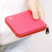 Crown Accent Square Zipper Wallet