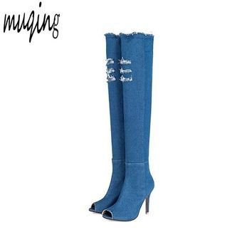 Muqing New Fashion Women Peep Toe Denim High Heels Over The Knee Boots Spring Summer Sexy Peep Toe Thigh High Boots  WO177