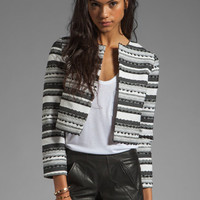 BB Dakota Jariah Striped Textured Crop Jacket in White/Black from REVOLVEclothing.com