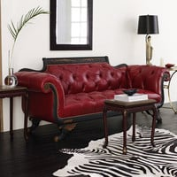 Old Hickory Tannery Red Tufted-Leather Sofa & Loveseat