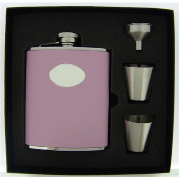 Visol Daydream Pink Leather Deluxe Hip Flask Gift Set - 6 oz